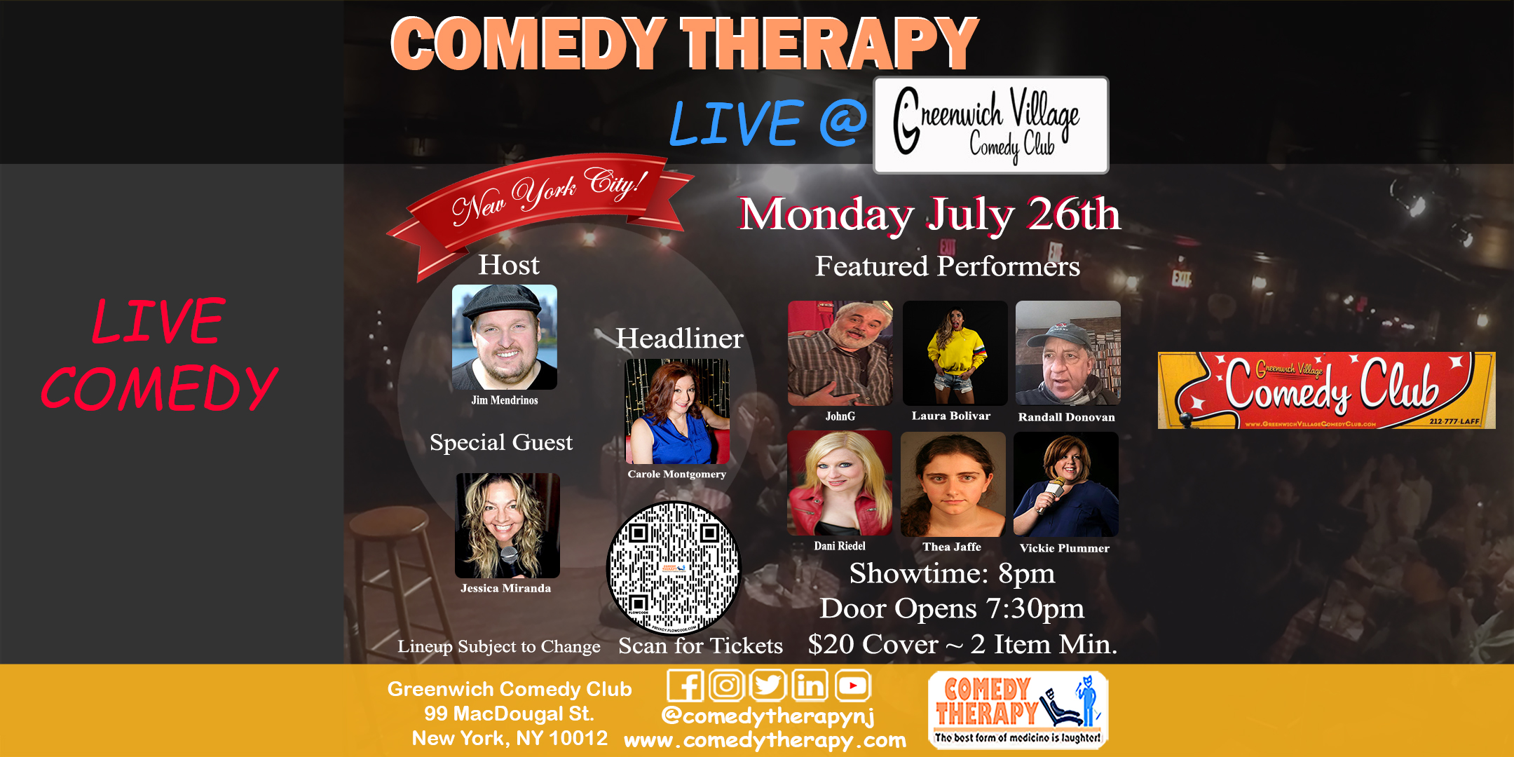 Comedy Therapy Live at Greenwich Comedy Club
