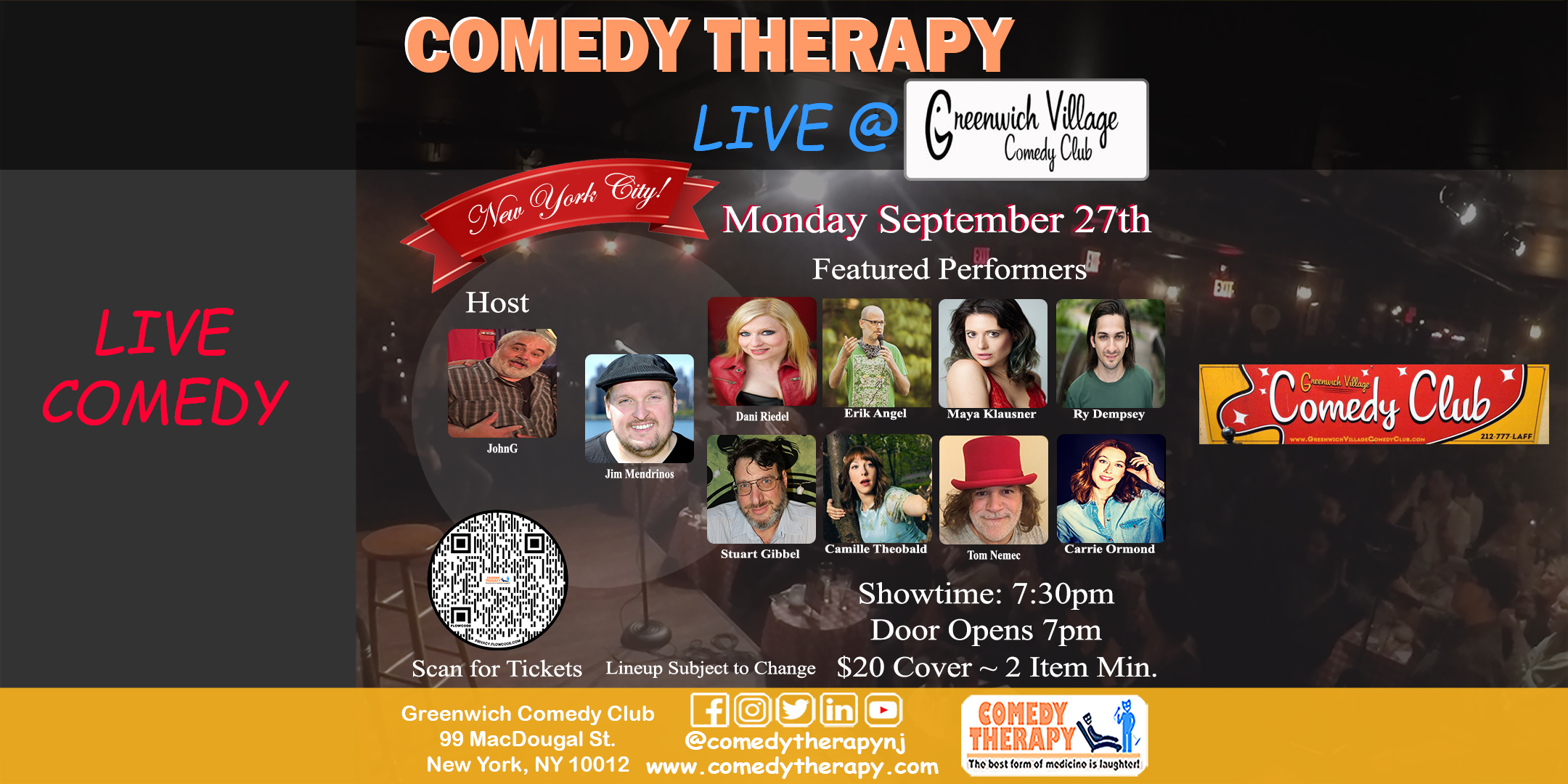 Comedy Therapy Live at Greenwich Village Comedy Club Sept 27