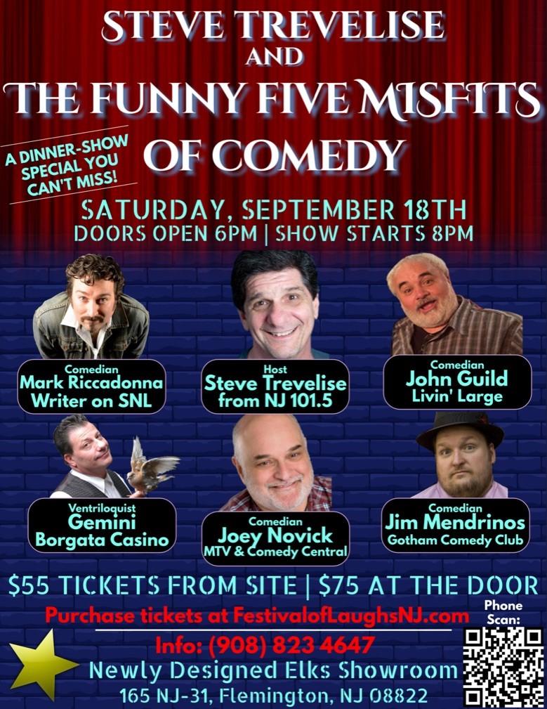 Steve Trevelise & The Funny 5 Misfits of Comedy Sept 18
